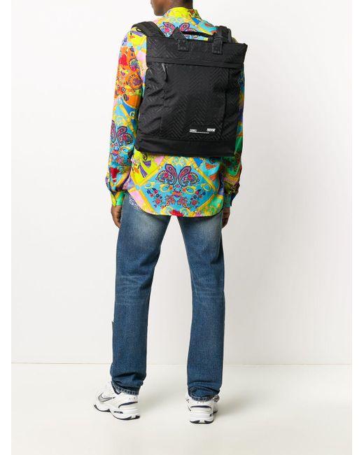 メンズ Versace Jeans エンボスロゴ バックパック Black