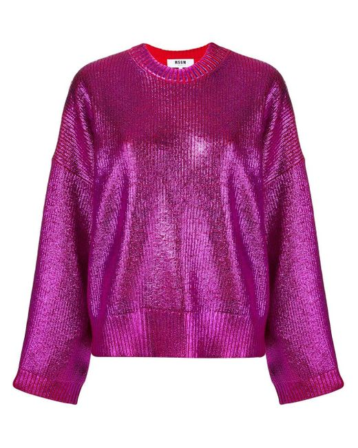 MSGM メタリックセーター Purple