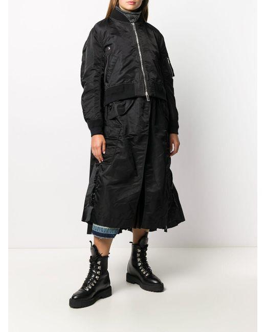 Sacai レイヤード ボンバーコート Black