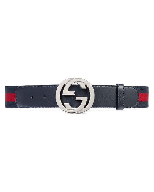 Gucci - Blue Cinturón con Tribanda y Hebilla de G for Men - Lyst