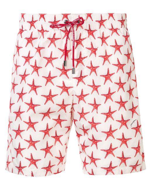 メンズ Dolce & Gabbana プリント トランクス水着 Red