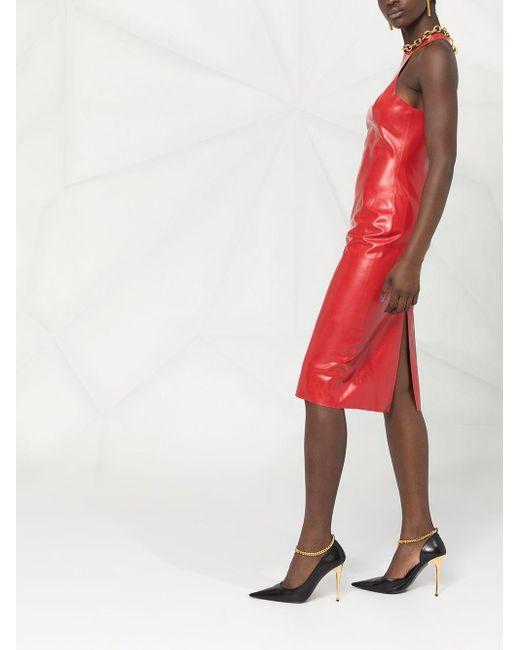 Приталенное Платье Миди Saint Laurent, цвет: Red