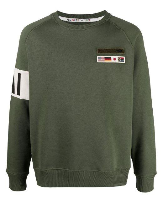メンズ Alpha Industries スローガン スウェットシャツ Green