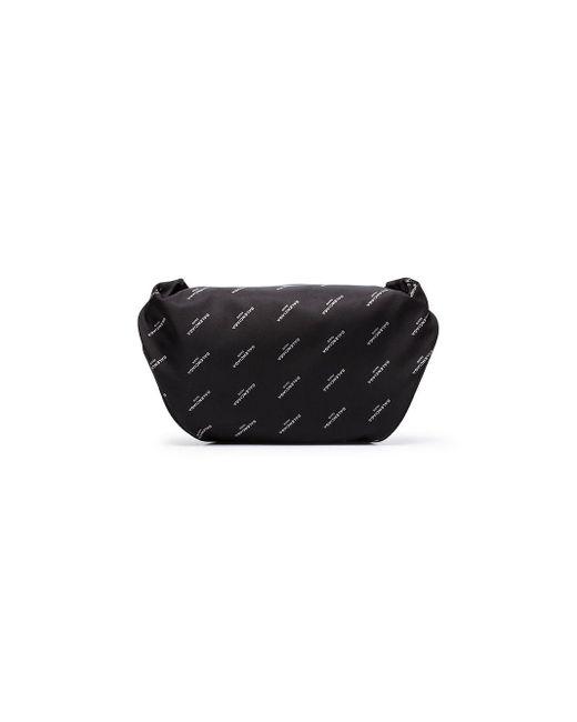 メンズ Balenciaga ロゴプリント クロスボディバッグ Black