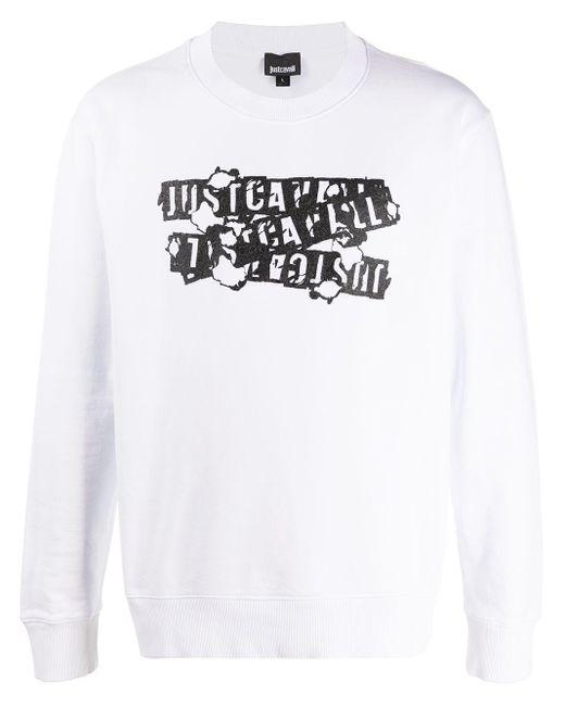 メンズ Just Cavalli ロゴ スウェットシャツ White