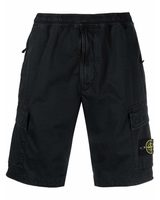 Short à poches cargo Stone Island pour homme en coloris Black