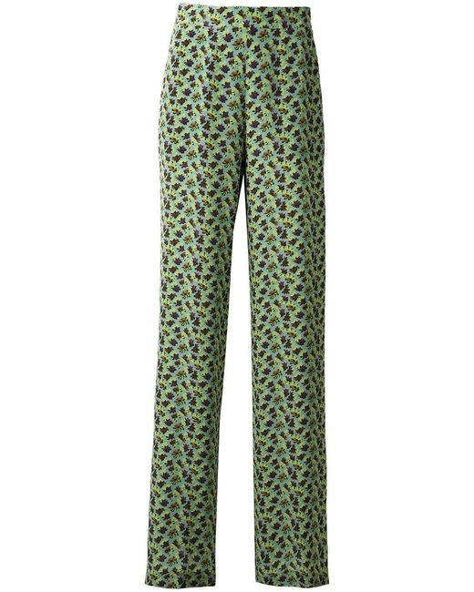 Etro | Green Floral Print Flared Trousers | Lyst