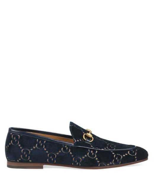 Бархатные Лоферы Jordaan С Узором GG Gucci для него, цвет: Blue