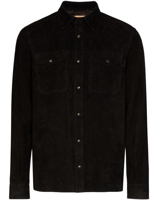 AJMONE Black Molly Long-sleeve Shirt for men