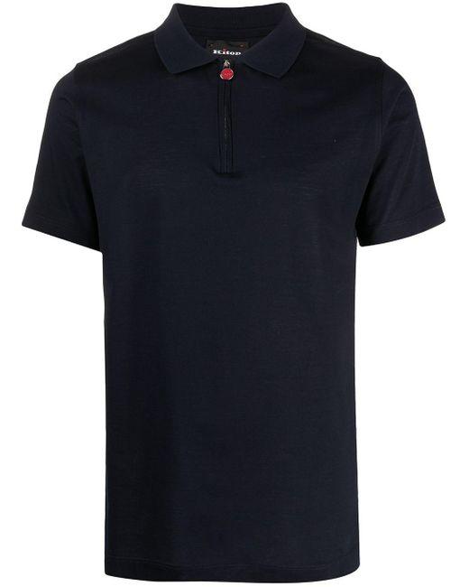メンズ Kiton ハーフジップ ポロシャツ Blue
