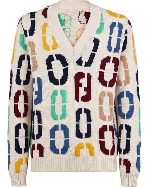 Джемпер С V-образным Вырезом И Логотипом Ff Fendi для него, цвет: White
