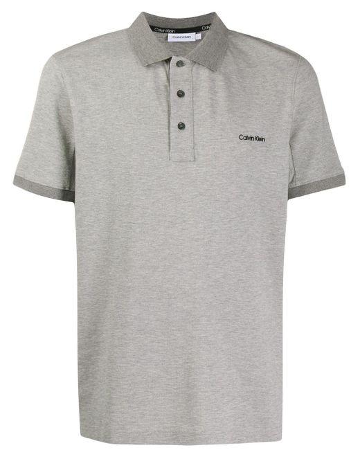 メンズ Calvin Klein ロゴ ポロシャツ Gray