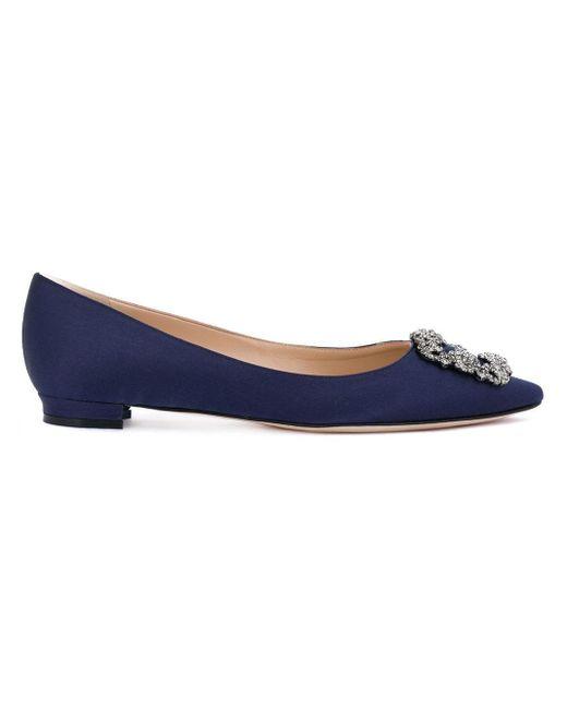 Manolo Blahnik Hangisi Embellished Ballerina Shoes Blue