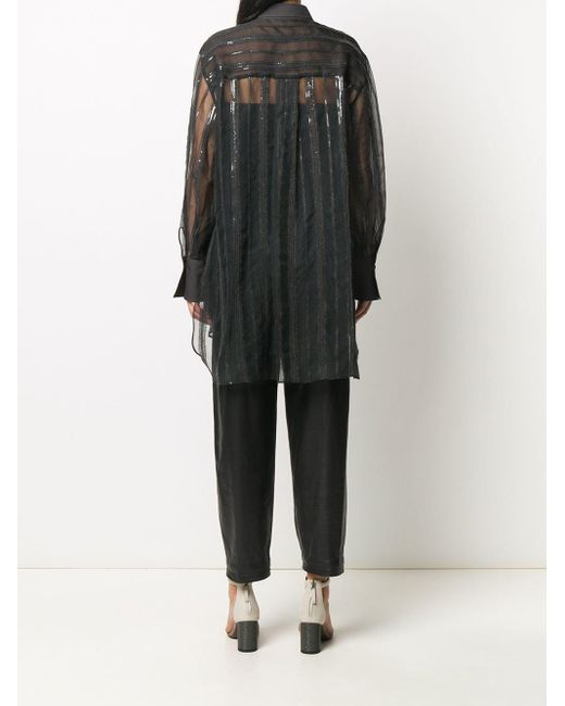 Brunello Cucinelli スパンコール シアーシャツ Black