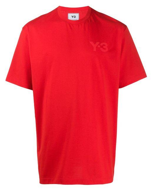 メンズ Y-3 ロゴ Tシャツ Red