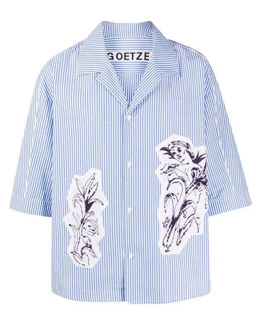 メンズ Goetze パネル ストライプシャツ Blue
