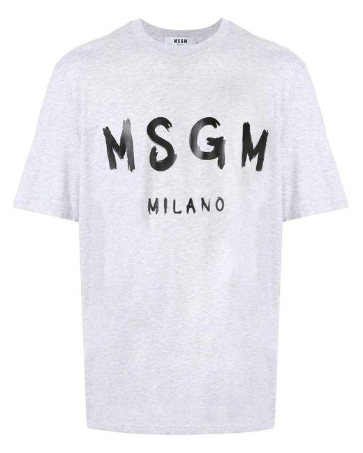 T-shirt con stampa di MSGM in Gray da Uomo