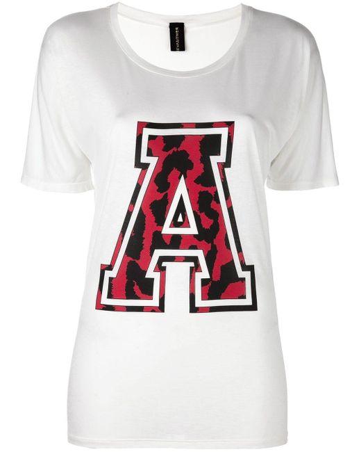 Alexandre Vauthier Camiseta estilo varsity de mujer de color blanco
