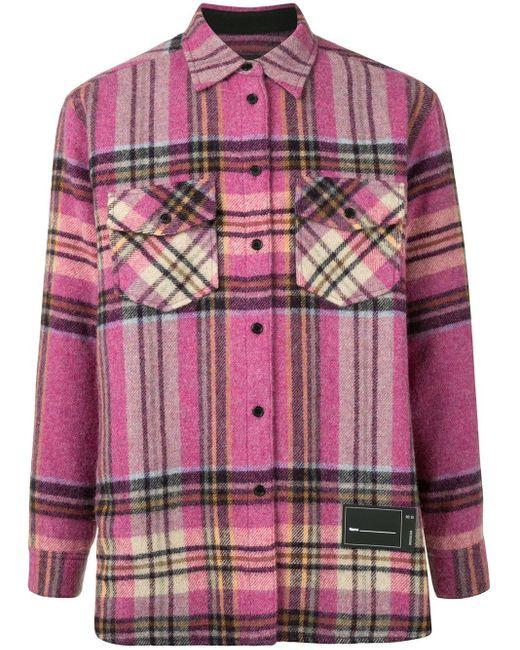 we11done Pink Plaid Wool Overshirt