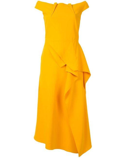 Roland Mouret Off-shoulder Midi Dress Yellow
