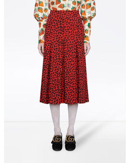 Леопардовая Юбка Gucci, цвет: Red
