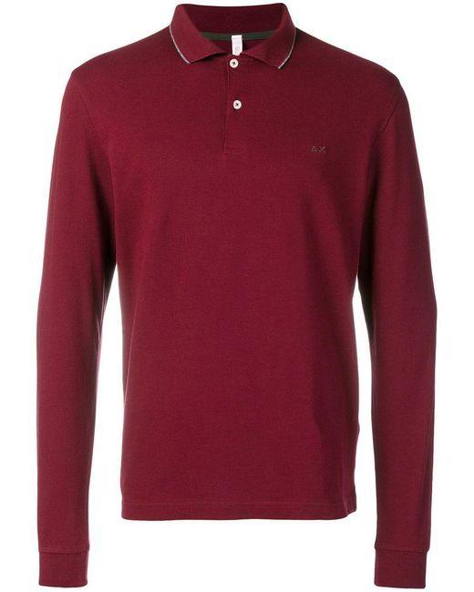 Sun 68 - Red Longsleeved Polo Shirt for Men - Lyst