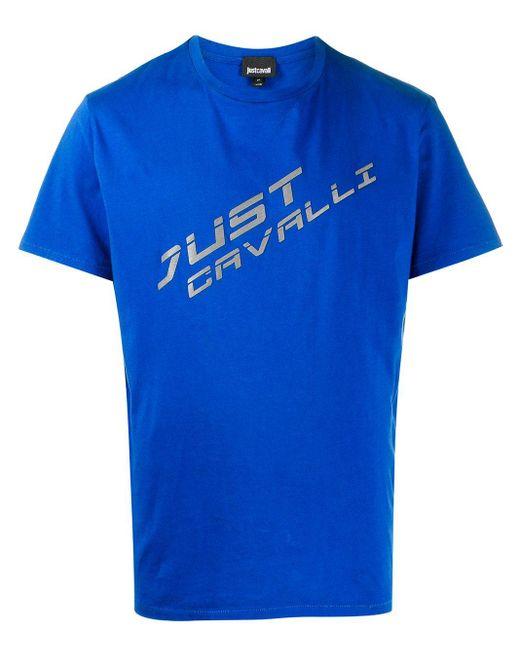 メンズ Just Cavalli ロゴ Tシャツ Blue