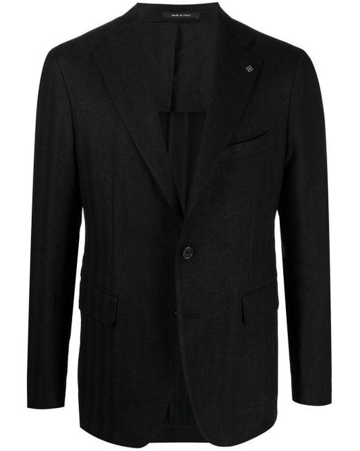 メンズ Tagliatore ストライプ シングルジャケット Black
