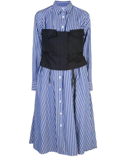 Sacai Blue Utility Shirt Dress
