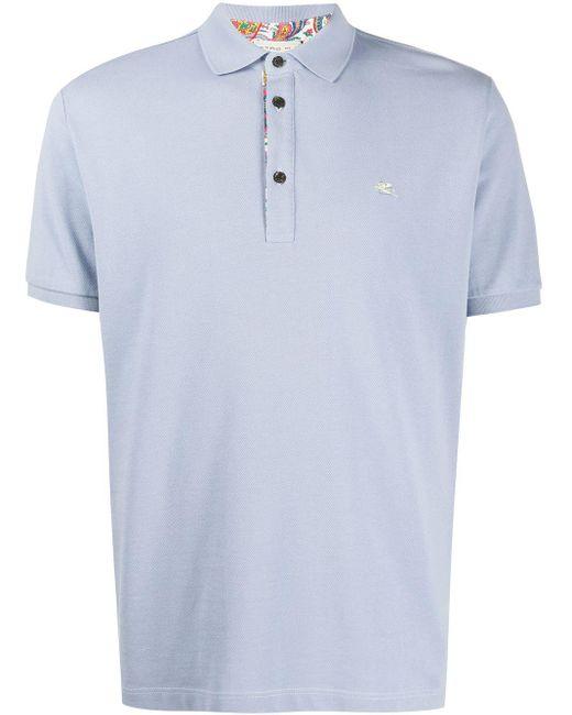 メンズ Etro コントラストロゴ ポロシャツ Blue