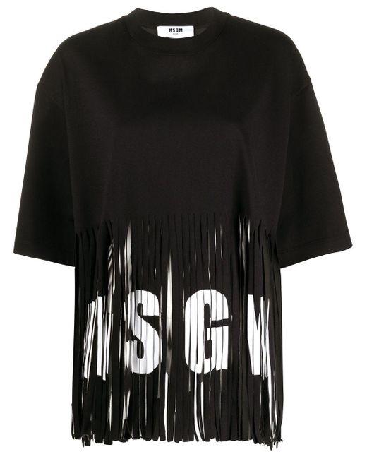 MSGM フリンジ Tシャツ Black