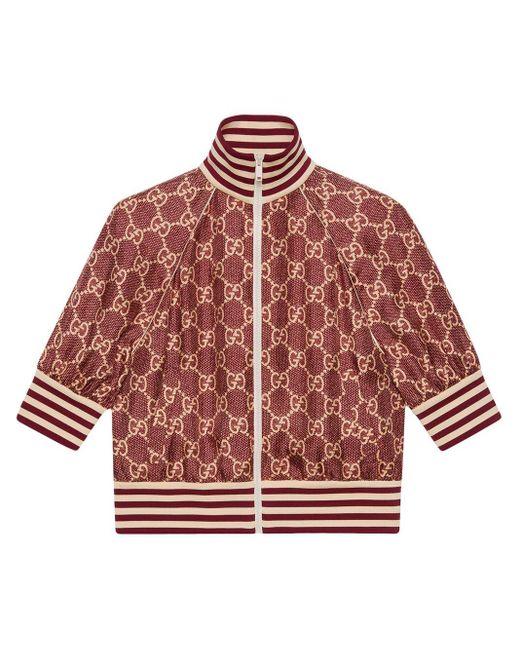 Gucci Red GG Supreme Print Silk Jacket