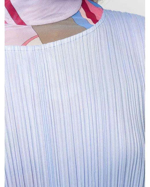 Pleats Please Issey Miyake ノースリーブ ドレス Blue