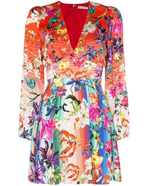 Mary Katrantzou Red Bloom Floral Print Mini Dress