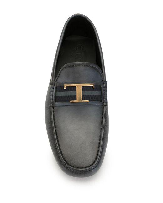 Mocassins à plaque logo Tod's pour homme en coloris Black