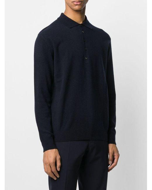 Polo 007 5 con bottoni di N.Peal Cashmere in Blue da Uomo