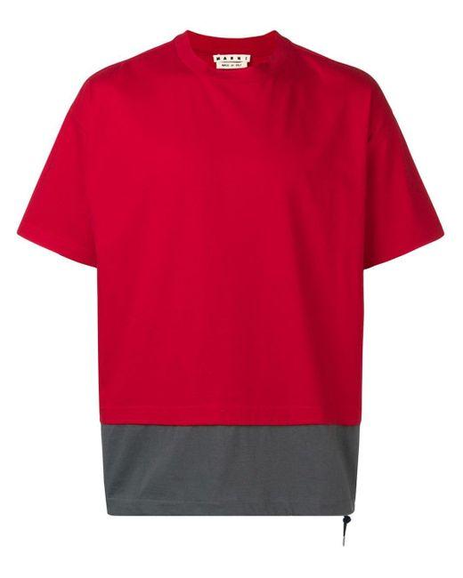 メンズ Marni レイヤード Tシャツ Red