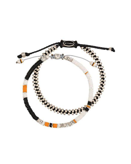 M. Cohen White Set Of 2 Beaded Bracelets for men