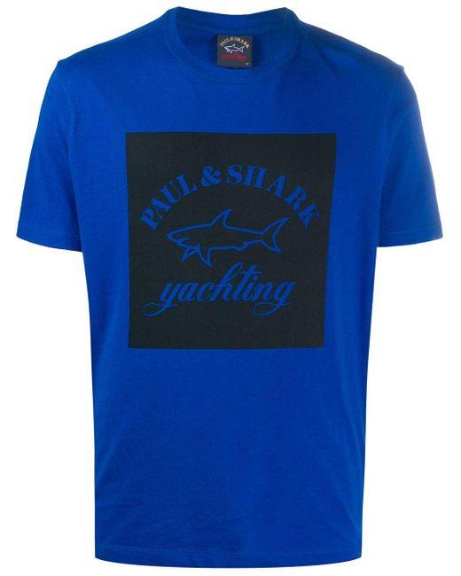 メンズ Paul & Shark ロゴ Tシャツ Blue