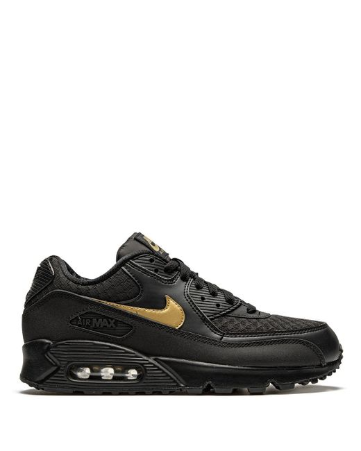Nike Leather Air Max 90 Essential 'black/gold' Shoes for Men - Lyst