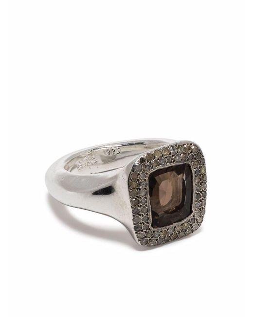 Rosa Maria Metallic Eckiger Ring mit Diamanten