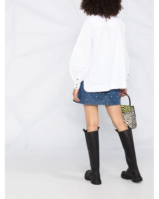 Блузка Оверсайз С Завязками На Воротнике Ganni, цвет: White