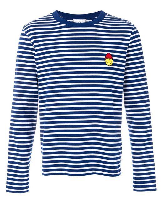 メンズ AMI スマイリー パッチ ロングスリーブ Tシャツ Blue