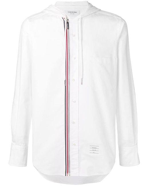メンズ Thom Browne フーディー ジップフロント オックスフォードシャツ White