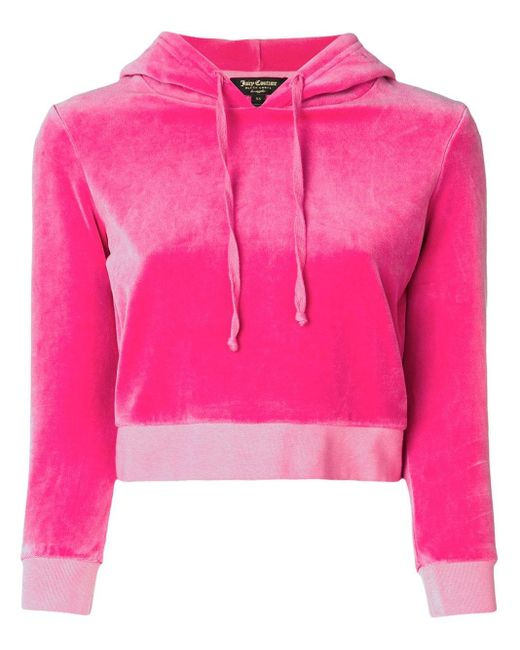 Juicy Couture Pink Velour Shrunken Hooded Pullover