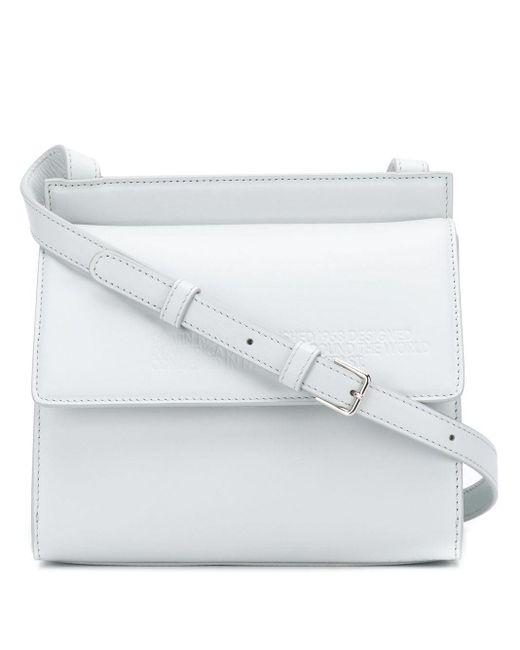 CALVIN KLEIN 205W39NYC White Embossed Flap Cross-body Bag