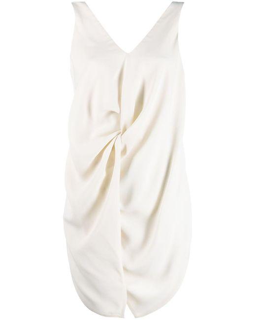 Erika Cavallini Semi Couture ギャザー ノースリーブ ブラウス White