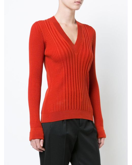 Maison margiela Ribbed Fitted Sweater in Red | Lyst