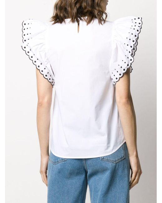 See By Chloé ラッフルスリーブ ブラウス White