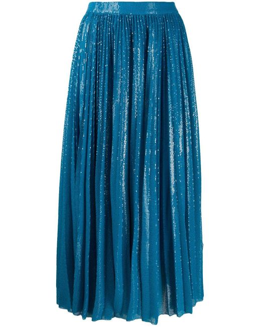 MSGM スパンコール スカート Blue